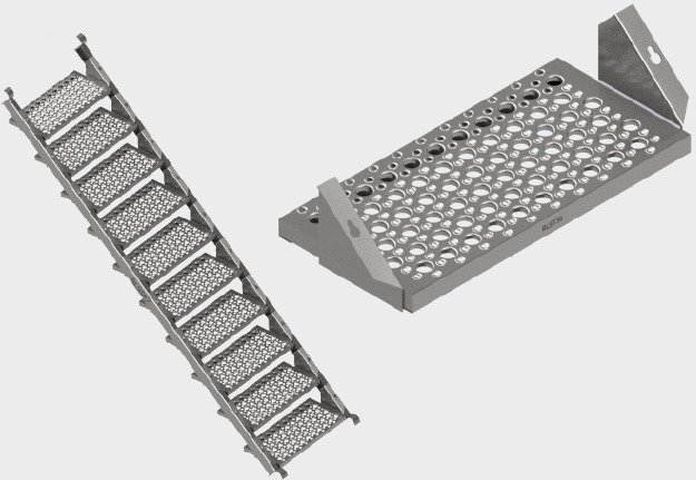 Aluminum Stair Stringer and Stair Tread