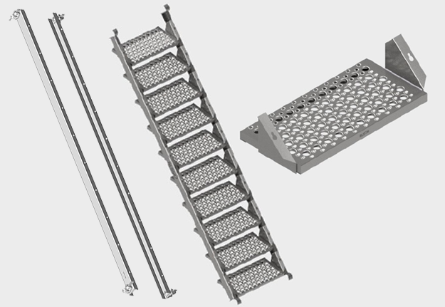 Steel Stringers and Stair Treads
